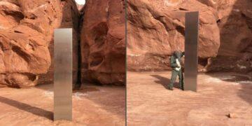 Encuentran monolito de metal en un desierto de Utah
