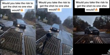 TikTok: graba video de un auto sobre las vías del tren arriesgando la vida de otras personas