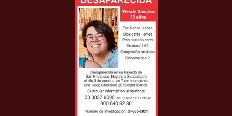 Las Fiscalías de Nayarit y Jalisco trabajan en conjunto para localizar a Wendy Sánchez, de 33 años